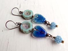 Tender Heart - handmade earrings, heart earrings, blue earrings, lampwork earrings, flower earrings, long earrings, silver earrings, uk by songbead on Etsy