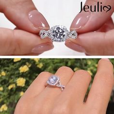 Explore More Halo & Intertwined,Twist Engagement Rings at JEULIA. Circle Engagement Rings, Princess Cut Engagement Rings, Silver Engagement Rings, Beautiful Engagement Rings, Beautiful Rings, Popular Engagement Rings, Celebrity Wedding Rings, Classic Wedding Rings, Silver Wedding Rings