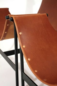 Leather Sling Lounge Chairs image 7