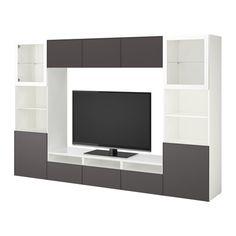 BESTÅ TV storage combination/glass doors - white Grundsviken/dark gray clear glass, drawer runner, soft-closing - IKEA