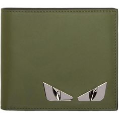 Fendi Green 'Bag Bugs' Wallet ($395) ❤ liked on Polyvore featuring men's fashion, men's bags, men's wallets, green, mens green leather wallet, mens credit card holder wallet and fendi mens wallet