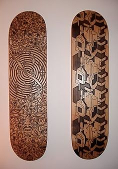 Laser etched wood skate decks from Oz-Boz on Flickr.com.