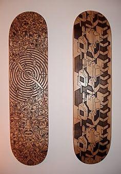 Laser etched wood skate decks from Oz-Boz on Flickr.com.