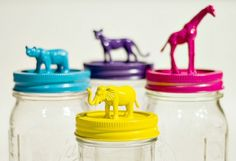 #DIY mason jars into fun storage containers simply by attaching plastic toy animals and painting the tops #kidsdinge