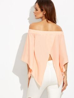Blusa con hombros al aire y abertura en espalda-Sheinside Casual Wear, Casual Dresses, Casual Outfits, Fashion Dresses, Salsa Outfit, Crop Top Shirts, Diy Clothing, Refashion, Blouse Designs
