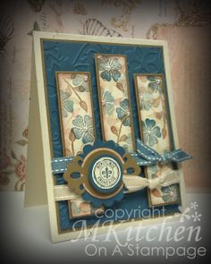 """The """"sentiment"""" is a new stamp by Hero Arts, the floral images are from a new set by Inspired By Stamping, the frame die cut is new from Spellbinders, and the dry embossing folder is new from Sizzix.  All other supplies are by Stampin' Up! except the liquid pearls, which are by Ranger."""