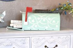 painted vintage mailbox. Love the paint colors and cool idea as an inbox