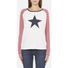 Maison Scotch Women's Long Sleeve Baseball T-Shirt with Cool Artworks ($65) ❤ liked on Polyvore featuring tops, t-shirts, white, graphic baseball tees, white graphic t shirt, baseball t shirt, rock and roll t shirts and long sleeve graphic tees