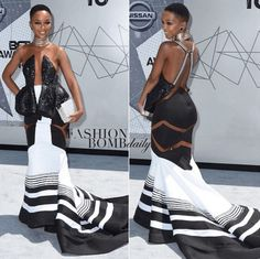 The BET awards red carpet was stunning this year, but one woman stole the show in a black and white dress with symmetrical details. Nandi Mngoma is the rising South African singer whose red carpet … Xhosa Attire, African Attire, African Wear, African Women, African Style, African Inspired Fashion, Latest African Fashion Dresses, African Print Dresses, African Dress