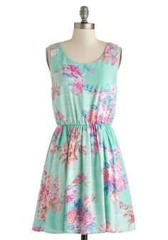 Beachfront Bungalow Dress - Mid-length, Mint, Blue, Pink, Floral, Cutout, Casual, A-line, Tank top (2 thick straps), Scoop, Daytime Party, Spring, Summer