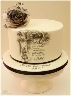 Alice in Wonderland Cake.All hand-painted with Midnight Black petal dust, topped with a flower made of wafer paper printed using the original image and text from the book.THE PERFECT CAKE! Pretty Cakes, Cute Cakes, Beautiful Cakes, Amazing Cakes, Alice In Wonderland Cakes, Wonderland Party, Petal Dust, Hand Painted Cakes, Wafer Paper