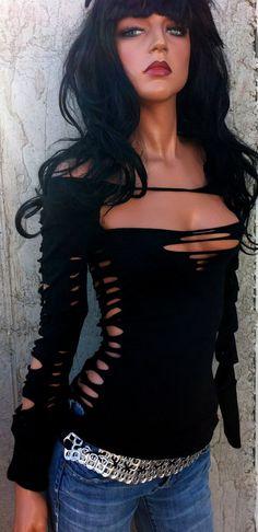 DIY INSPIRATIONAL IMAGE: Sexy Destroyed Shredded Longsleeve Black Shirt by TShreds on Etsy, $38.00