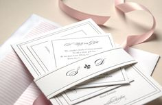A pink and gray letterpress invitation suite with a belly band for an Australian couple. #letterpress #wedding #invitation #gray #pink