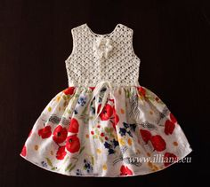 Pretty Bow Dress . Baby girl dress made with soft pure linen. Crochet top with crochet flower, button closure on the back, floral skirt . Very easy to wear and comfy. Occasion: Dressy, Everyday, Holiday, Pageant, Wedding Season: Spring, Summer Material: Linen Blend