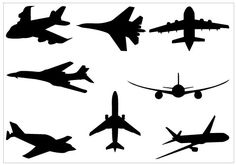 Airplane Silhouette Clip Art Pack TemplateSilhouette Clip Art