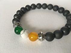 Irish flag gemstone bracelet. Hematite stones &more. https://www.etsy.com/listing/270148987/sale-mens-irish-flag-bracelet-mens #etsymntt #ireland #menswear #jewelry