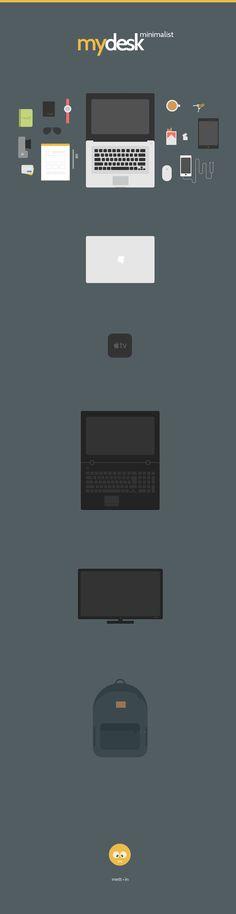 MyDesk: Minimalist Illustration   GraphicBurger