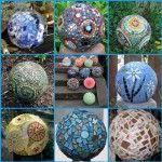 Mosaic Garden Balls  old bowling balls !!!  Quick Grip adhesive (beacon adhesives)