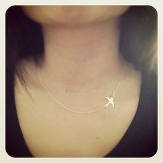 Sterling Silver Swallow Bird Necklace - All Sterling Silver - Simple,Everyday Jewelry. $23.90, via Etsy.