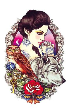 Woman with Wolf and Owl Temporary Tattoo Body by PaperRoseCottage