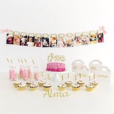 12 Months Photo Banner - First Birthday Banner - First birthday Inspired by Alma - Inspired by Alma Inspired by Alma - Inspired by Alma  12 months banner - Party decorartions, cake toppers, cupcake topper, confetti, iron on, outfit, straws, decor, first birthday party decorations.,