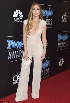 Stunning: Jennifer Lopez was all about putting her cleavage on display as she took to the red carpet at the People Magazine Awards in Beverly Hills