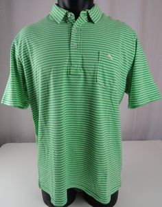NWT Tommy Bahama Mens XL Bali Coastline Polo Shirt Striped Green White Pima SS #TommyBahama #PoloRugby