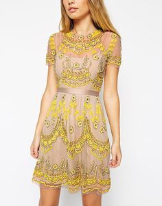 ASOS Needle & Thread Embellished Tiered Petal Dress