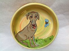 Weimeraner 10 Ceramic Dog Bowl for Food or Water Personalized at no Charge Signed by Artist Debby Carman >>> Click image to read more details. #DogBowls