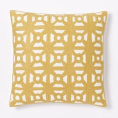 Modern Crewel Lattice Cushion Cover - Horseradish
