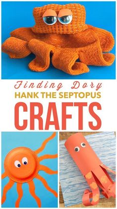 We had to wait 13 years to meet Hank the Septopus…that's a seven legged octopus…but its safe to say that this new Disney/Pixar character was a hit in Disney's newest animated feature film masterpiece. Preschool Science Activities, Summer Activities For Kids, Preschool Crafts, Diy For Kids, Nemo Crafts For Kids, April Preschool, Toddler Activities, Octopus Crafts, Ocean Crafts