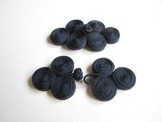 Chinese knot button closures - 2 pairs dark blue fabric Chinese buttons - large. $4.20, via Etsy.