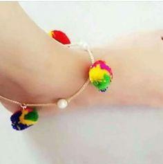 navratri anklets Baby Jewelry, Tassel Jewelry, Kids Jewelry, Fabric Jewelry, Wedding Jewelry, Jewelry Making, Silk Bangles, Thread Jewellery, Anklets