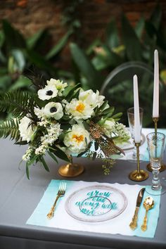 White and gold centerpiece with anemones, peonies and fern | By poppyandmintfloral.com | Photo by Tasha Rae Photography