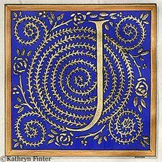 Typography - Alphabet Manuscript Illumination by Kathryn Finter - Letter J Fancy Letters, Monogram Letters, Letters And Numbers, Illuminated Letters, Illuminated Manuscript, Cool Lettering, Hand Lettering, Lettering Design, Letter Art