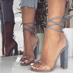 Denim Harley Clear Lace Up Block Heels: Don't miss them on Your Next Shoes! Cute High Heels, Black High Heels, Heeled Boots, Shoe Boots, Shoes Heels, Strappy Heels, Stiletto Heels, Lace Up Block Heel, Block Heels