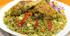 Arroz Verde de Pollo la Huancaina - chicken green rice - green rice - how to make green fried rice Aji Sauce, Pollo Recipe, Green Rice, How To Make Greens, Peruvian Recipes, Latin Food, Rice Dishes, Sauce Recipes, Food To Make