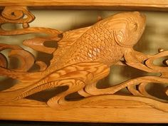 Japanese ranma transom with koi at www.Jcollector.com