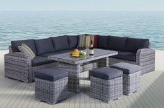 Rattan Corner Lounge Set Sofa Dining Table Stool Wicker Weave Garden Patio Yard