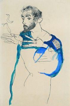 Egon Schiele - Gustav Klimt im blauen Malerkittel 1913