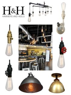 Hammers & Heels Industrial and Factory style lights. With pendants, sconces, flush mount, and chandeliers all available in black, nickel, brass, and bronze there really is something to give any space that rustic industrial farmhouse feel.