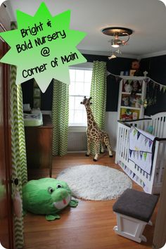 Bright and Bold Nursery- the room where we would put baby already has this color walls!