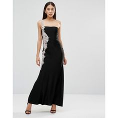 AX Paris Crochet Side Detail Maxi Dress ($52) ❤ liked on Polyvore featuring dresses, black, tall length maxi dresses, crochet maxi dress, tall maxi dresses, slimming maxi dresses and tall dresses