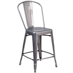 24'' High Indoor Counter Height Stool with Back