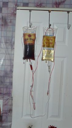 Halloween Party - Add alcohol to IV bags and make your victims, I mean guests, drink shots fired out of the end of the IV line!