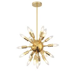 With its sunburst like design, which spreads the light in every direction, the Astrid is one of the most glamorous chandeliers out there.Material: MetalColor: GoldDimensions: Diameter 20Cord Maximum Adjustable Length: 70Light Bulbs Included: C32 25W (20pcs)UL Listed: YesAssembly Required: YesPackaging; BoxedShips Via: Small Parcel