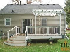 Hybrid Deck in Roseville Minnesota with white pergola
