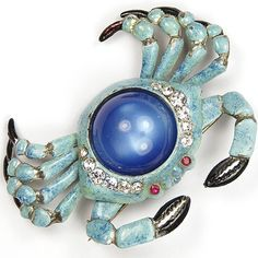 Coro Enamel and Sapphire Cabochon Blue Crab Pin
