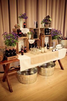 Rustic Purple Wedding - Photographer: Top Banana Photography Planner: Event Experiences (formally Bride Associates) Soda Station Styling: Event Styling by Shawna Marie Venue: Maddox-Muse Center at Bass Hall Florals: Lush Couture Floral Catering: Lo Decoration Communion, Wooden Crates Wedding, Rustic Purple Wedding, Wedding Vintage, Rustic Weddings, Country Weddings, Deco Champetre, Food Displays, Buffet Displays