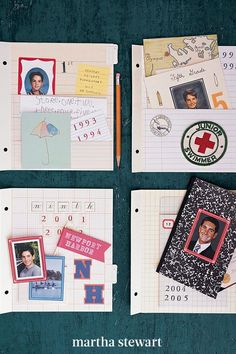 Summer is a perfect time to organize—and proudly display—the steady stream of photographs, artwork, awards, and other keepsakes that accrue during a child's school years. Follow our simple step-by-step photograph and memory school scrapbook for your kids as they grow up. #marthastewart #crafts #diyideas #easycrafts #tutorials #hobby Photographs And Memories, School Scrapbook, Cherished Memories, Keepsakes, Martha Stewart, Projects For Kids, Easy Crafts, Growing Up, Organize